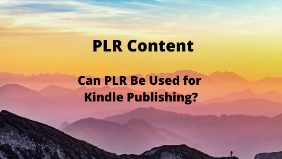 Can PLR Be Used for Kindle Publishing?