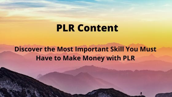 Discover the Most Important Skill You Must Have to Make Money with PLR